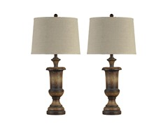 Quoise Brown Stone Lamp - Set of 2