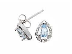 Sterling Silver Blue Topaz Gemstone w/Diamond Studs