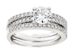 18kt WG Plated Tri Row Sim Diamond Ring Set