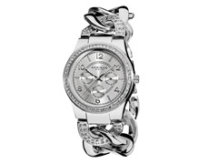 Women's Multifunction Crystal Accented Twist Chain Watch
