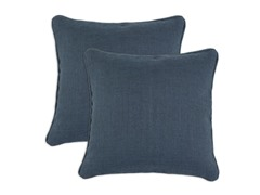 Burlap Navy 17x17 Pillows - Set of 2