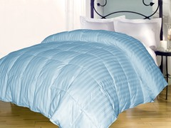 Stripe Down Alternative Comforter-Lt. Blue-3 Sizes