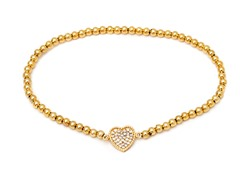 Gold/White Swarovski Elements Heart Elastic Bracelet
