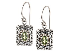18kt Gold Accent Square Peridot Earrings