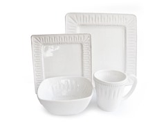American Atelier Kenzie White Square 16pc Dinnerware Set