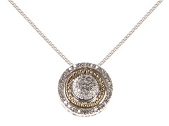 Silver & 14k Gold Diamond Pendant
