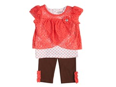 3-Piece Coral Capri Set (4-6X)