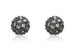 Riccova Harlequin Black Rhodium CZ Pave Ball Earring