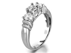 1.50 CTTW 3-Stone Round Diamond Ring - White Gold