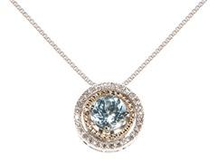 Silver & 14k Gold Aquamarine Pendant