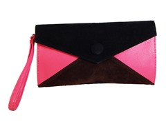 Button Clutch Bag, Black Brown & Pink