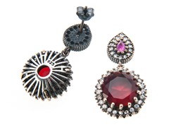 SS Otantic Round Dyed Ruby & White CZ Genuine Semi-Precious Gemstone Earrings