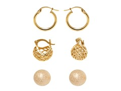 Gold Set of 3 Stud & Hoop Earrings