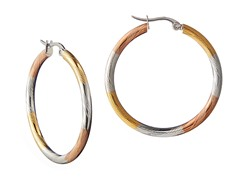 Stainless Steel Polish 3-Tone Thin Diamond Cut Hoop Earrings