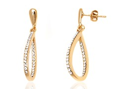 Gold/White Swarovski Elements Open Teardrop Earrings