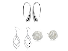 3 Pack Sterling Silver Earrings
