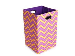 Zig Zag Canvas Folding Laundry Bin