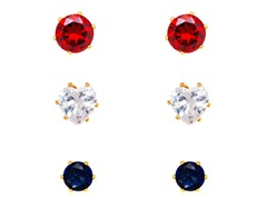 Sapphire, Ruby & White Crystal Round Set of 3 Stud Earrings