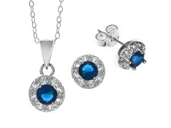 Sterling Silver Dark Blue CZ Set