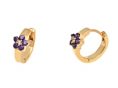 18k GP Purple Crystal Flower Huggie