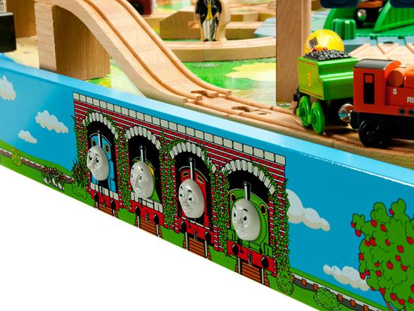 3-D Faces of Thomas \u0026 Friends on Sodor Play Table & Thomas \u0026 Friends Wooden Railway \u2013 Tidmouth Sheds Deluxe Set with ...