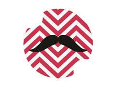 Red & White Chevron Mustache Carster