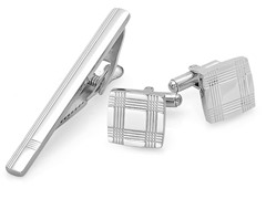 Stainless Steel Cufflinks & Tiebar Set