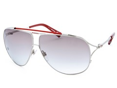 Women's Sunglasses, Silver-Red/Light Gray Gradient