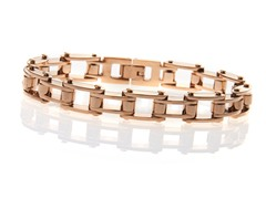 BlackJack 14K Rose Gold Plated Stainless Steel Bracelet