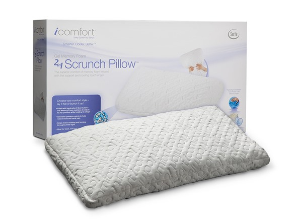 Serta Icomfort 2 In 1 Scrunch Gel Memory Foam Pillow 2 Sizes
