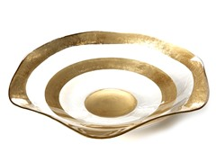 "Wave Bowl 14"" Gold or Silver Rim"