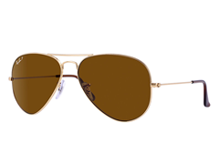 Polarized Lg. Aviator Sunglasses, Brown