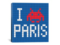 I Invade Paris Tile Art 18x18 Thin