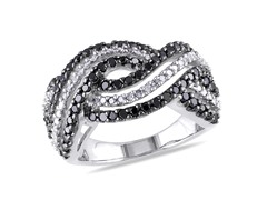 1.0cttw Black and White Diamond Ring