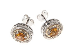Silver & 14k Gold Citrine Earrings