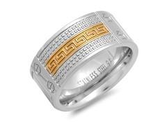 Men's Ring w/ Screw & Gold Greek Accent