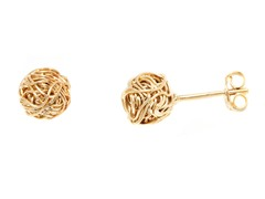 18k Plated Woven Cable Love Knot Stud Earrings