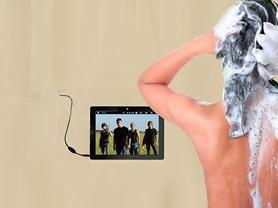 ShowerTunes Shower Curtain/Liner-Beige