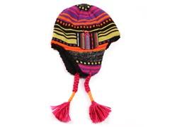 Girls Purple Faux Fur Tassel Tie Helmet
