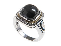 18kt Gold Accent Square Black Agate Ring