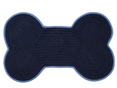 Navy Blue Dog Bone Color Edge Rug - 3 Sizes