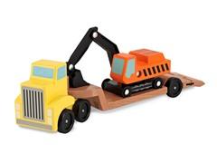Trailer and Excavator Wooden Vehicle Set