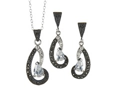 Black/White Marcasite Unshaped CZ Set