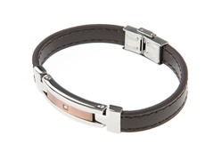 Genuine Brown Leather & Chocolate/SteelCZ Bracelet
