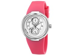 Women's White Dial / Pink Rubber Strap Watch