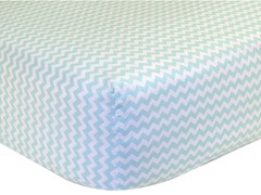 Chevron Fitted Sheet - Mint & White
