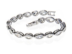 White Gold Plated SS Fancy Multi Cut Sim Diamond Bracelet