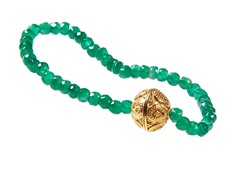 Gold-Plated SS Genuine Dyed Emerald Bead Stretch Bracelet