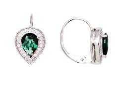 SS Emerald Sapphire CZ Oval Leverback Earrings