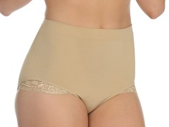 Lace Trim Brief Shaper, Nude